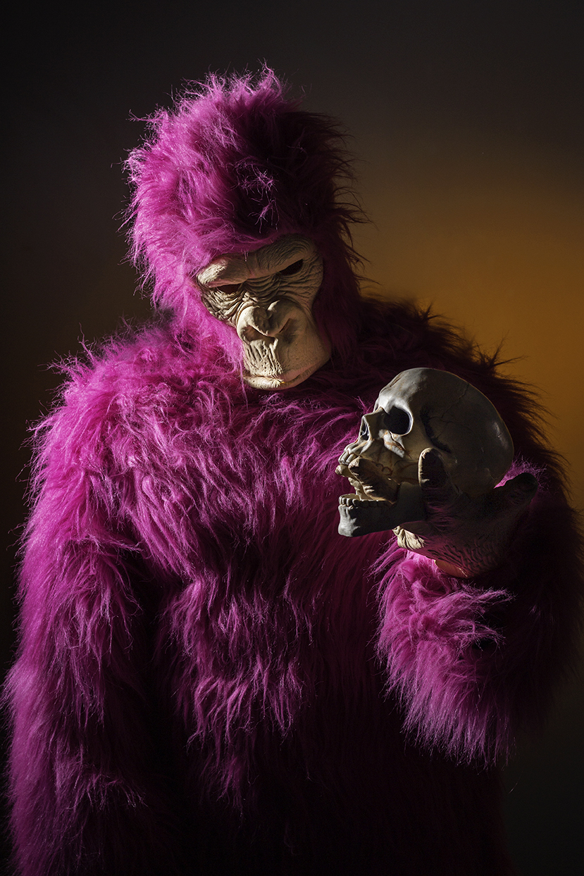 Person in gorilla costume posed holding human skull.